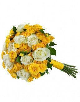 Mix bouquet of 25 white/yellow spray roses | Roses to mother