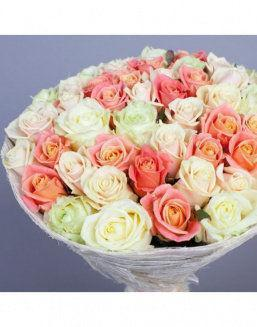 Gift Grace set of cream and carrot roses | Roses to mother